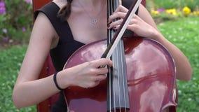 Ragazza quel violoncello di gioco nella natura video d archivio