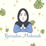 Ragazza Ramadan Greeting Card Vector di Hijab Immagine Stock