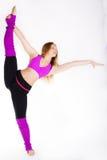 Ragazza relativa alla ginnastica del ballerino con il buon allungamento Fotografia Stock