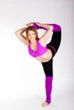 Ragazza relativa alla ginnastica del ballerino con il buon allungamento Immagini Stock