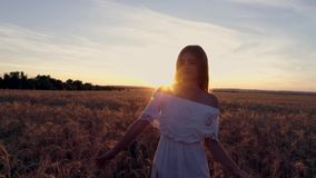 Ragazza romantica in un vestito bianco che cammina nei giacimenti di grano dorati al sole Fotografie Stock Libere da Diritti