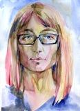 Ragazza rosa dei capelli dell'acquerello nei vetri Fotografia Stock Libera da Diritti