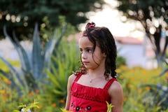 Ragazza rossa del vestito Fotografie Stock