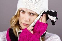 Ragazza rovesessa per dolore dentale Fotografie Stock