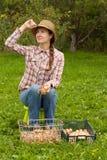 Ragazza russa con le cipolle Fotografia Stock