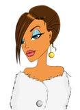 Ragazza in scialle della pelliccia royalty illustrazione gratis
