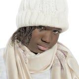 Ragazza scontrosa che indossa un cappuccio bianco, isolato immagini stock libere da diritti