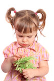 Ragazza scontrosa con il fiore Fotografia Stock