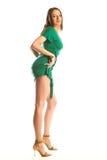 Ragazza sexy in abito verde Fotografie Stock Libere da Diritti