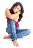 Ragazza sexy in blue jeans Immagine Stock