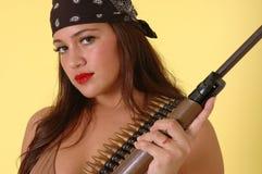 Ragazza sexy con la pistola Fotografie Stock Libere da Diritti