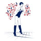 Ragazza del biglietto di S. Valentino di bellezza Immagine Stock Libera da Diritti