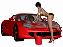 Ragazza sexy di griglia ed automobile calda royalty illustrazione gratis