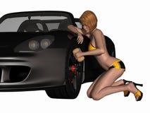 Ragazza sexy di griglia ed automobile calda illustrazione vettoriale