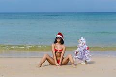Ragazza sexy Santa in bikini su un abete della spiaggia immagine stock libera da diritti