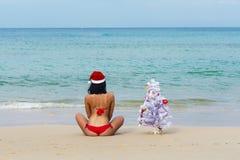 Ragazza sexy Santa in bikini su un abete della spiaggia fotografia stock libera da diritti