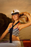 Ragazza sexy su un yacht Fotografie Stock