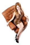 Ragazza sexy sul vestito dal leopardo Fotografie Stock Libere da Diritti