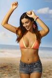 Ragazza sexy sulla spiaggia Fotografie Stock