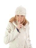 Ragazza silenziosa in cappotto di inverno Immagini Stock Libere da Diritti