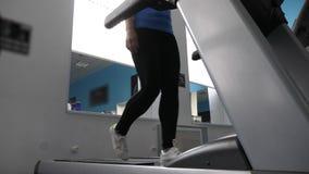 Ragazza snella del club di forma fisica impegnata nella camminata su una pedana mobile La ragazza sulla pedana mobile va, cardio  archivi video