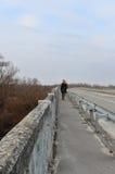 Ragazza sola in un cappotto nero sul vecchio ponte - vista posteriore Fotografia Stock