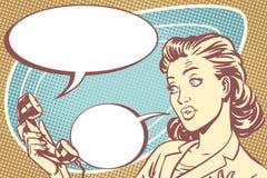 Ragazza sorpresa che parla sul telefono royalty illustrazione gratis