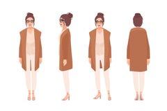 Ragazza sorridente adorabile vestita in abbigliamento casual Cardigan d'uso della giovane donna divertente Personaggio dei carton illustrazione di stock