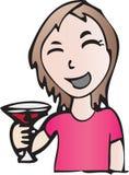 Ragazza sorridente con la bevanda Immagini Stock Libere da Diritti