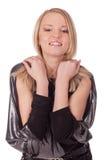 Ragazza sorridente con le mani sulle spalle immagini stock libere da diritti