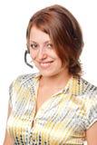 Ragazza sorridente con un microfono Fotografie Stock Libere da Diritti