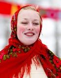 Ragazza sorridente in costume nazionale Immagine Stock