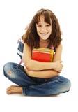 Ragazza sorridente del banco con i libri della tenuta dello Zaino Immagine Stock