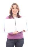 Ragazza sorridente del banco con il libro Fotografia Stock Libera da Diritti