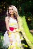 Ragazza sorridente della foto di estate in un vestito bianco Fotografia Stock