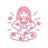 Ragazza sorridente in padmasana, linea logo di yoga Icona della meditazione della donna illustrazione di stock