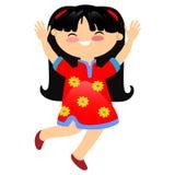 Ragazza sorridente in vestito rosso tradizionale con i cerchi illustrazione di stock