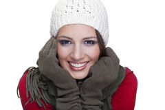 Ragazza splendida che sorride sul fondo bianco Fotografie Stock Libere da Diritti