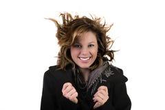 Ragazza splendida con il volo dei capelli nel vento Fotografie Stock Libere da Diritti