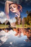 Ragazza - stagioni Doppia esposizione Primavera, autunno Fotografia Stock