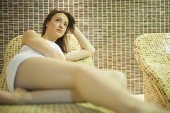 Ragazza in stazione termale Fotografia Stock Libera da Diritti