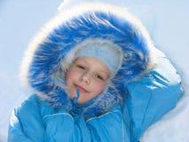 Ragazza su neve fotografia stock