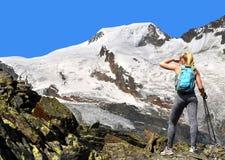 Ragazza su un viaggio nelle alpi svizzere Fotografia Stock