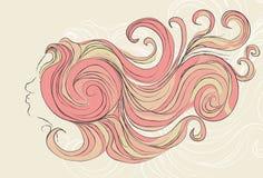 Ragazza sudicia stilizzata con capelli scorrenti Immagini Stock
