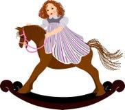 Ragazza sul cavallo di oscillazione illustrazione vettoriale