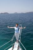 Ragazza sulla barca Fotografia Stock Libera da Diritti