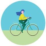 Ragazza sulla bici Innesta l'icona Fotografie Stock Libere da Diritti