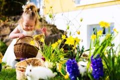 Ragazza sulla caccia dell'uovo di Pasqua Con le uova Fotografie Stock
