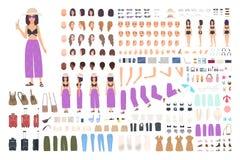 Ragazza sulla creazione di vacanza o sul corredo di DIY Pacco degli elementi femminili del corpo del viaggiatore o del turista, g illustrazione vettoriale