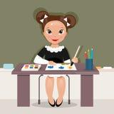 Ragazza sulla lezione del disegno Illustrazione di vettore Fotografia Stock